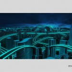 Tron 3d base of cyty panorama